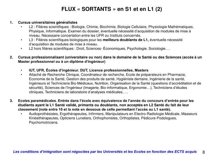 FLUX «SORTANTS» en S1 et en L1 (2)
