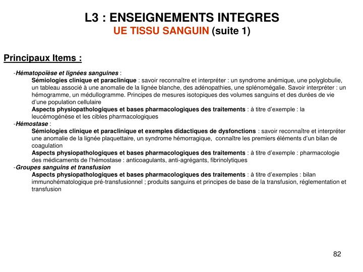 L3 : ENSEIGNEMENTS INTEGRES