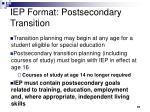 iep format postsecondary transition