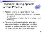 placement during appeals for due process