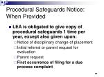 procedural safeguards notice when provided