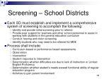 screening school districts