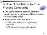 statute of limitations for due process complaints