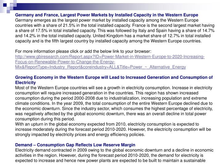 Germany and France, Largest Power Markets by Installed Capacity in the Western Europe