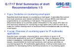 q 17 17 brief summaries of draft recommendations 1 3