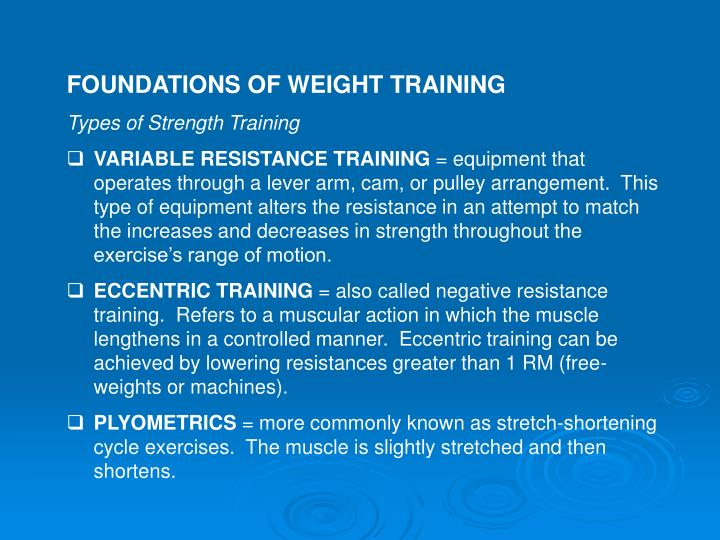 FOUNDATIONS OF WEIGHT TRAINING