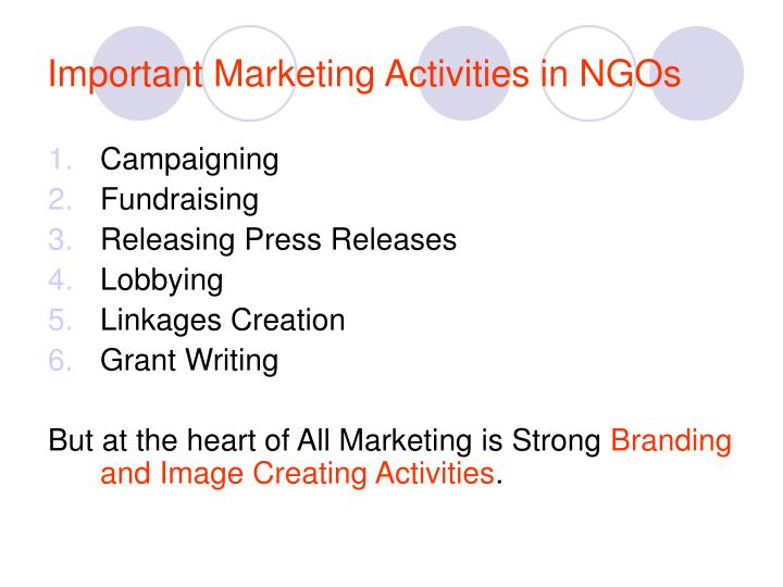 Important Marketing Activities in NGOs