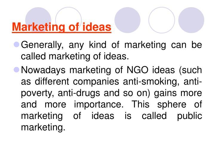 Marketing of ideas