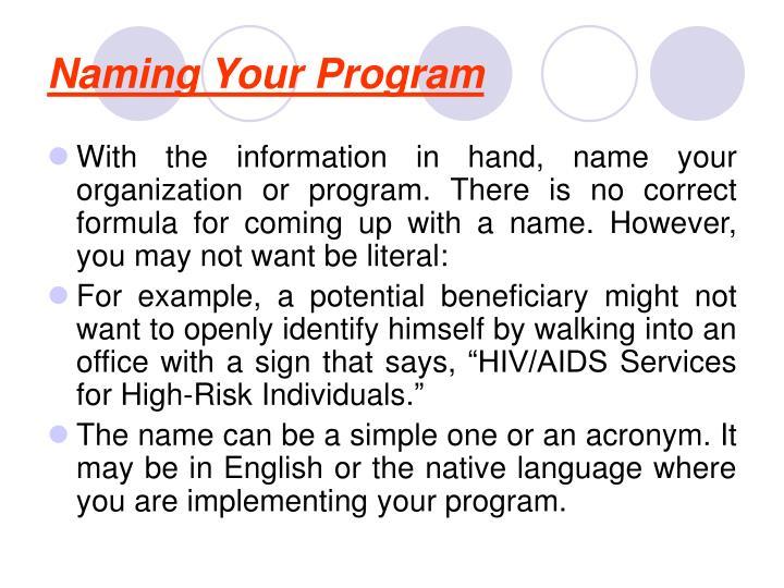 Naming Your Program