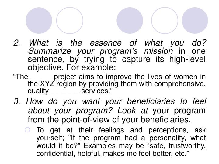 2. What is the essence of what you do? Summarize your program's mission