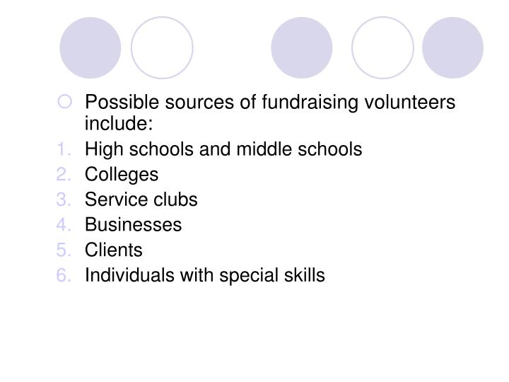 Possible sources of fundraising volunteers include:
