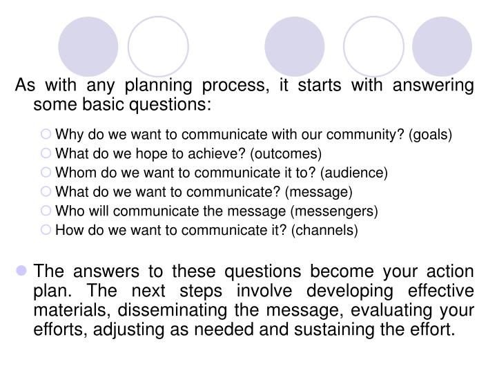 As with any planning process, it starts with answering some basic questions: