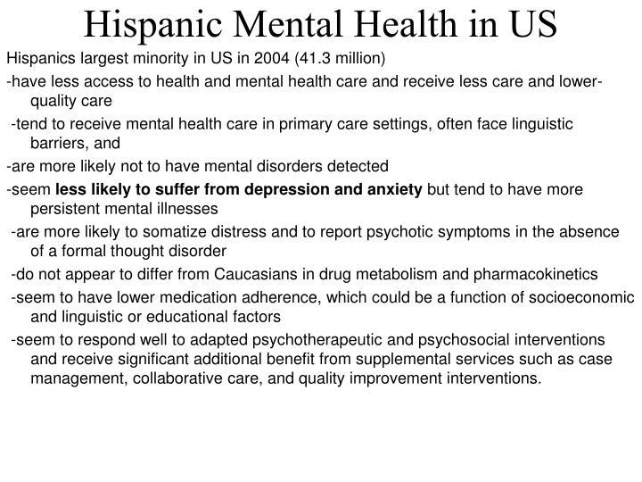 Hispanic Mental Health in US