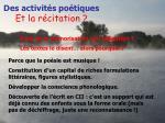 des activit s po tiques et la r citation2