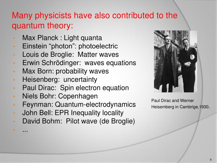 Many physicists have also contributed to the quantum theory: