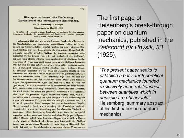 The first page of Heisenberg's break-through paper on quantum mechanics, published in the