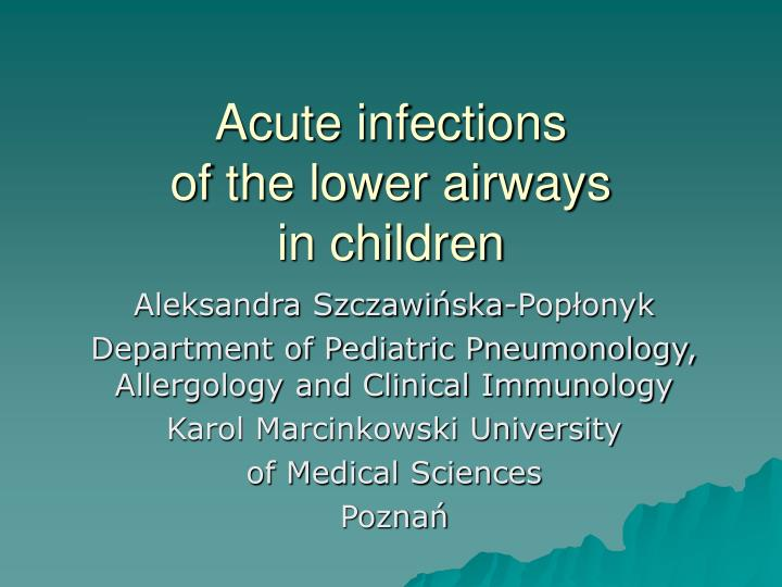 acute infections of the lower airways in children n.