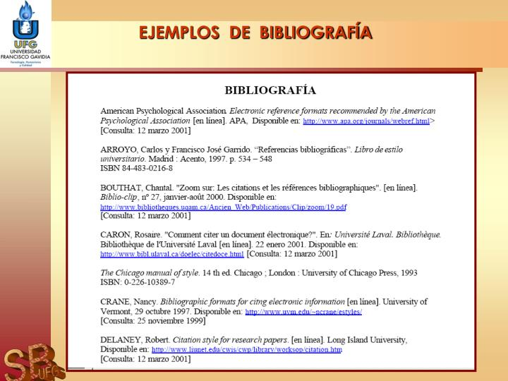 EJEMPLOS  DE  BIBLIOGRAFÍA