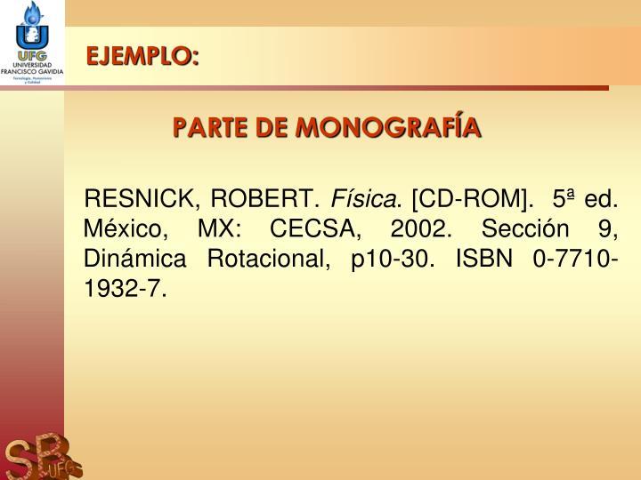 PARTE DE MONOGRAFÍA