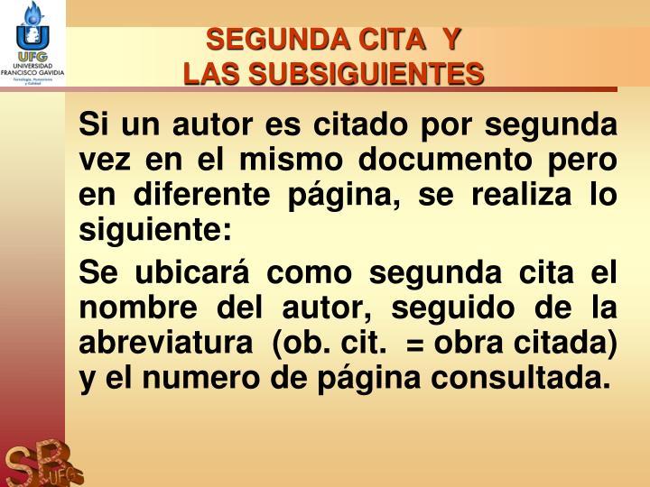 SEGUNDA CITA  Y