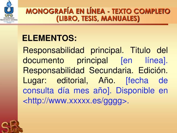 MONOGRAFÍA EN LÍNEA - TEXTO COMPLETO