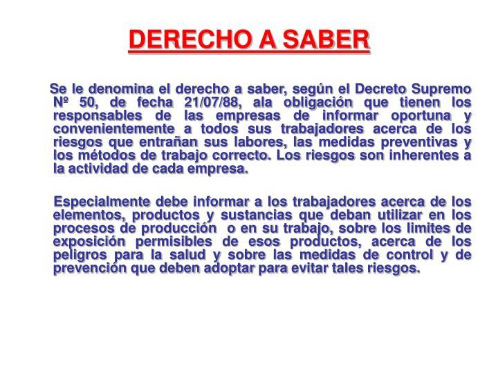 DERECHO A SABER