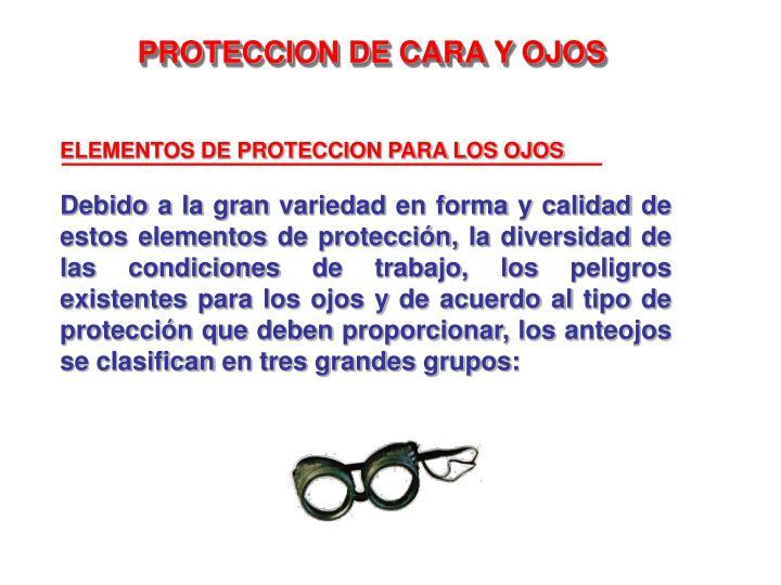 ELEMENTOS DE PROTECCION PARA LOS OJOS