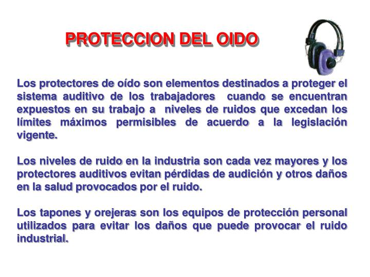PROTECCION DEL OIDO
