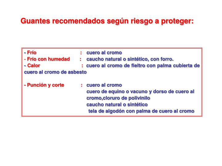 Guantes recomendados según riesgo a proteger: