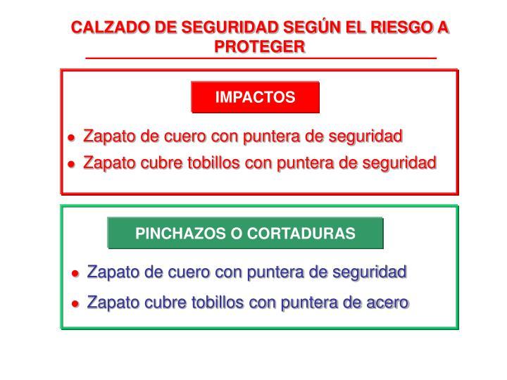 CALZADO DE SEGURIDAD SEGÚN EL RIESGO A PROTEGER