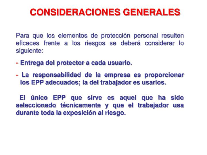 CONSIDERACIONES GENERALES
