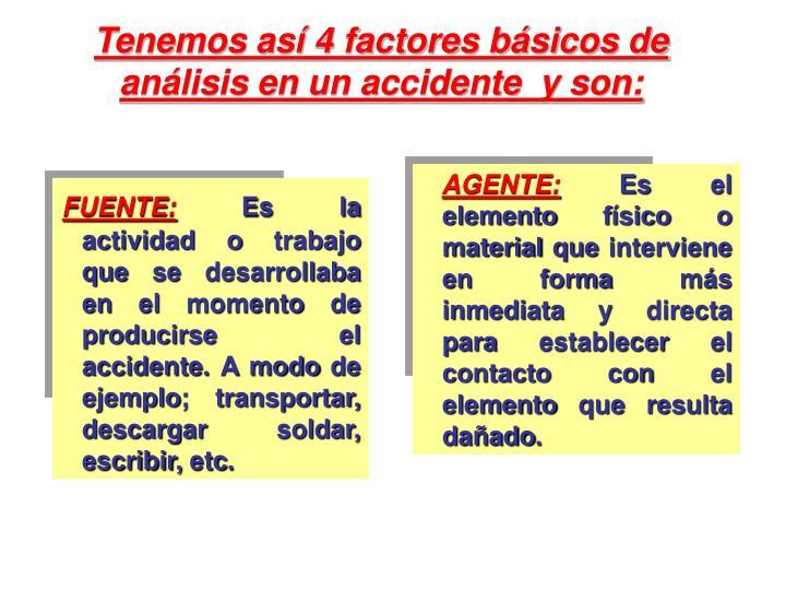 Tenemos así 4 factores básicos de análisis en un accidente  y son: