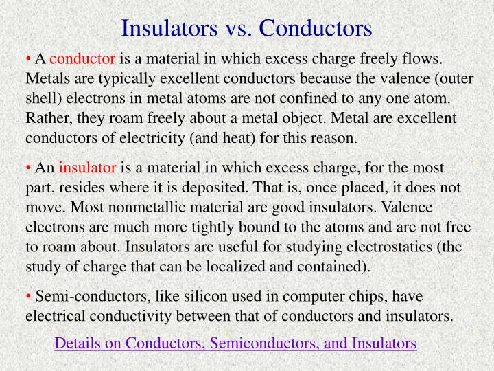 Insulators vs. Conductors