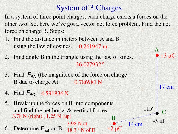 In a system of three point charges, each charge exerts a forces on the other two. So, here we've got a vector net force problem. Find the net force on charge B. Steps: