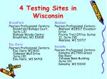 4 testing sites in wisconsin