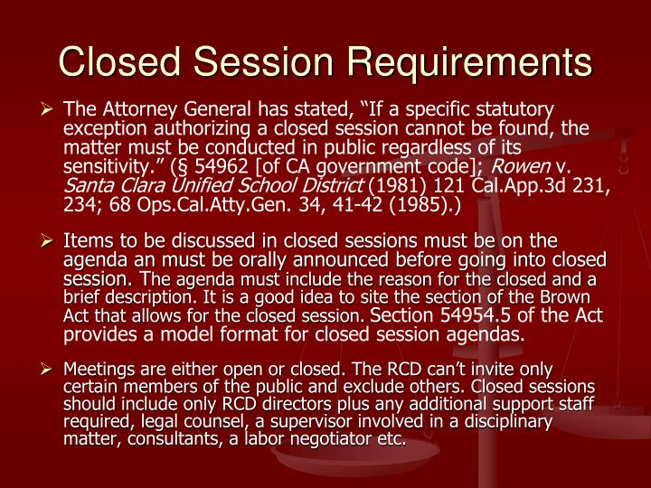 Closed Session Requirements