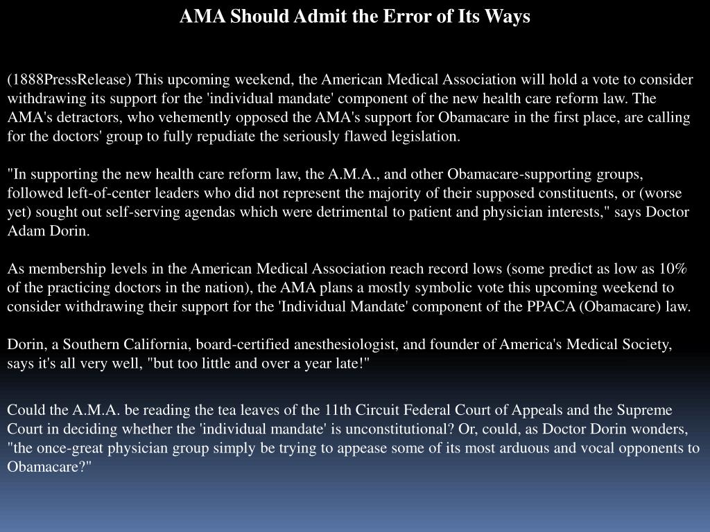 AMA Should Admit the Error of Its Ways