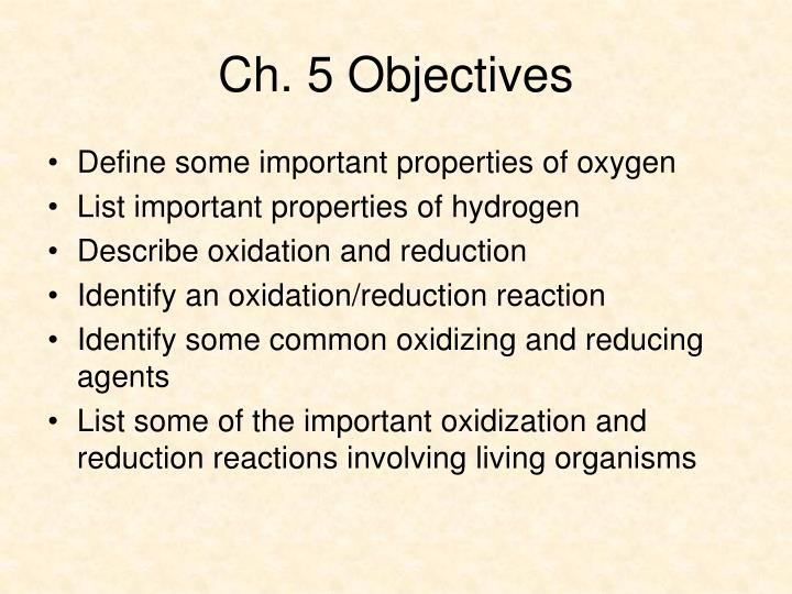 Ch 5 objectives
