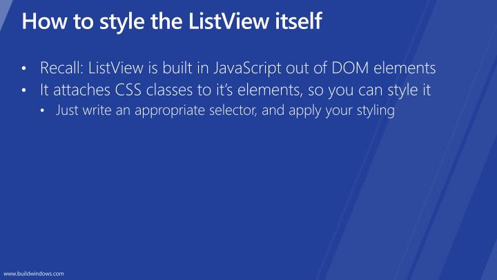 How to style the ListView itself