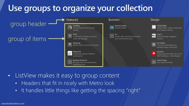 Use groups to organize your collection