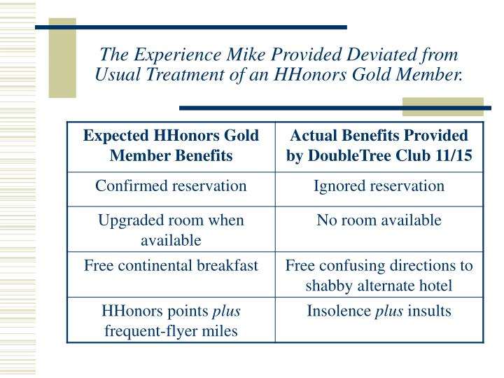 The Experience Mike Provided Deviated from Usual Treatment of an HHonors Gold Member.