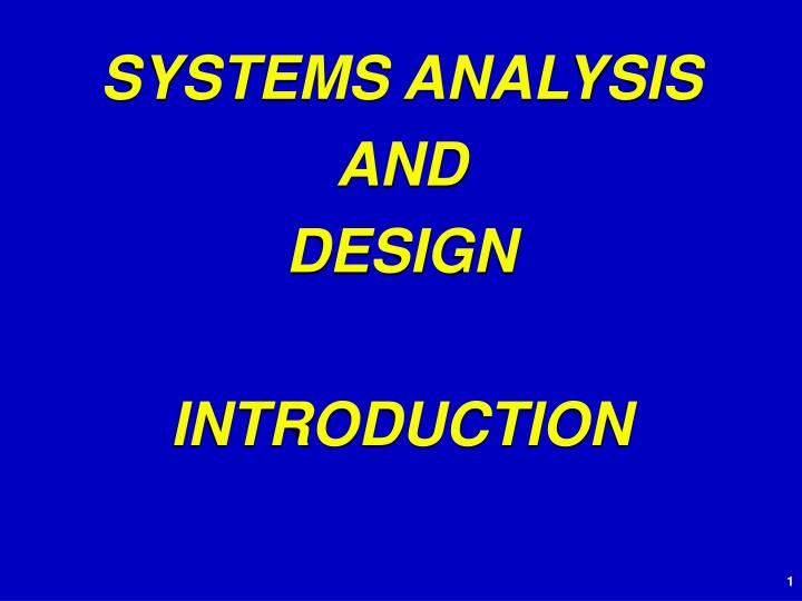 systems analysis and design introduction n.