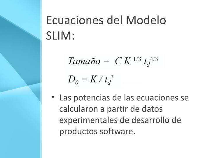 Ecuaciones del Modelo SLIM:
