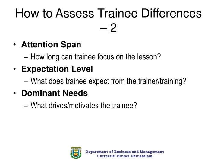 How to Assess Trainee Differences – 2