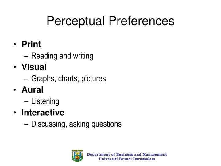 Perceptual Preferences