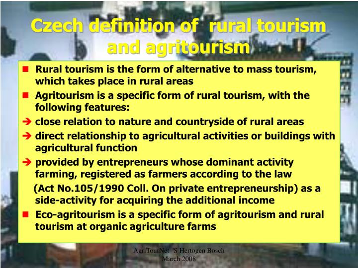 Czech definition of  rural tourism and agritourism