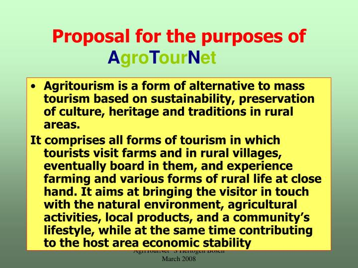 Proposal for the purposes of