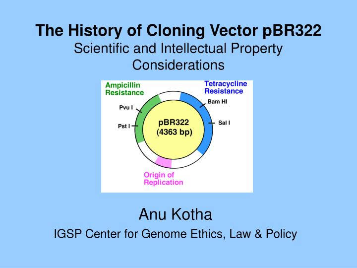 the history of cloning vector pbr322 scientific and intellectual property considerations n.