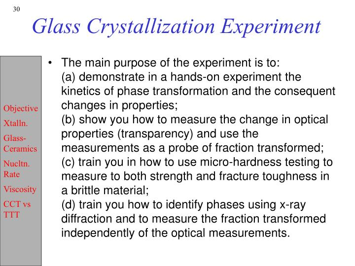 Glass Crystallization Experiment