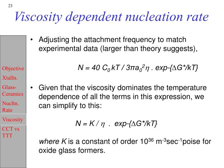 Viscosity dependent nucleation rate